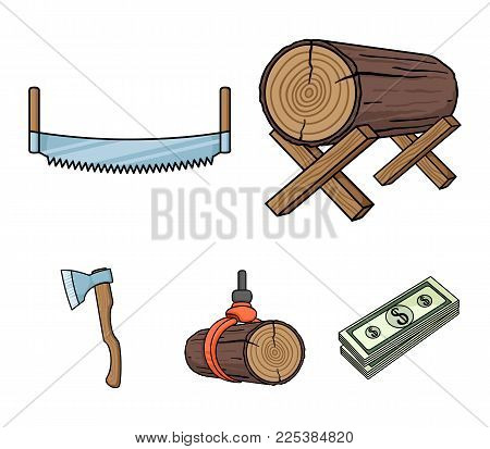 Log On Supports, Two-hand Saw, Ax, Raising Logs. Sawmill And Timber Set Collection Icons In Cartoon