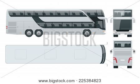 Double-deck multi-axle luxury touring coach. Commercial vehicle. Intercity bus vector illustration. View from side, front, back, top
