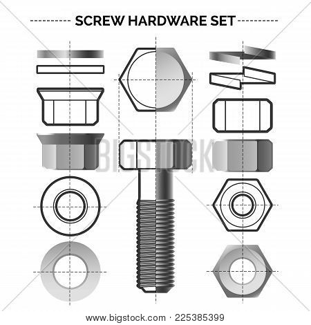 Bolt and nut set. Metal material bolts and steel nuts construction construction drawings vector illustration