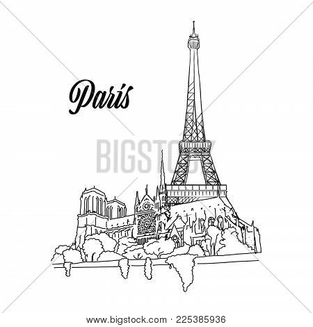 Paris Landmark Banner Sign, hand drawn outline illustration for print design and travel marketing