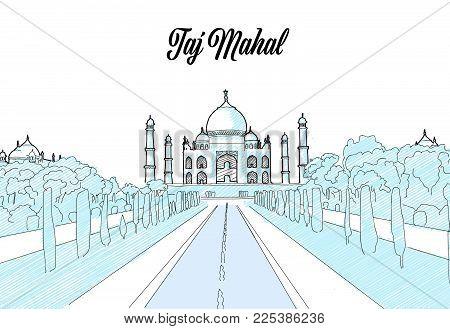 Taj Mahal Travel Sketch. Hand drawn outline illustration for print design and travel marketing