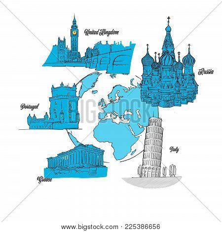 Europe Travel Landmarks on Globe. hand drawn outline illustration for print design and travel marketing