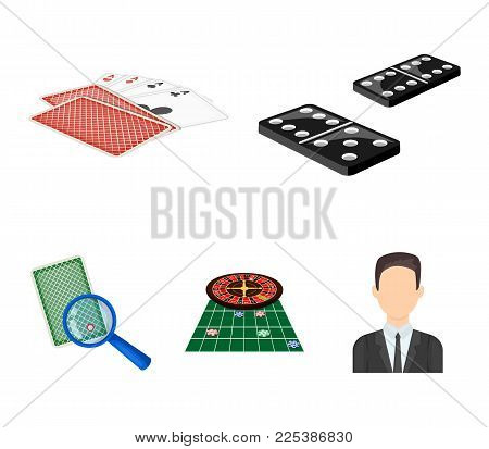 Excitement, casino, game and other  icon in cartoon style Magnifier, cheating, entertainment, icons in set collection.