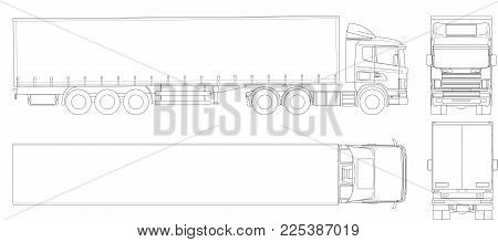 Vector truck trailer outline. Commercial vehicle. Cargo delivering vehicle. View from side, front, back, top. Vector illustration