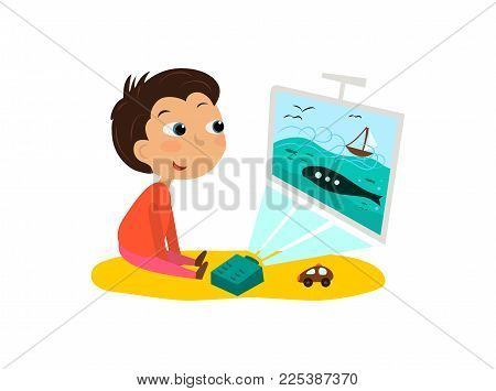 The child watches cartoons, TV. Vector illustration of a boy and a projector.