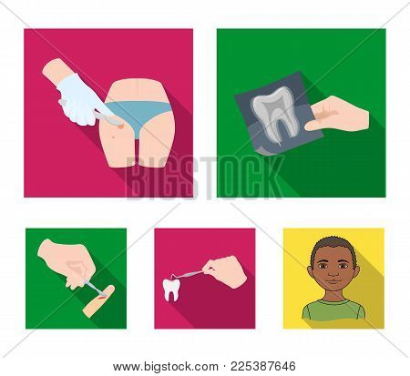 Tooth, X-ray, instrument, dentist and other  icon in flat style. surgeon, abscess, scalpel icons in set collection.