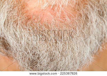 Close up picture of senior man's grey beard on chin, macro