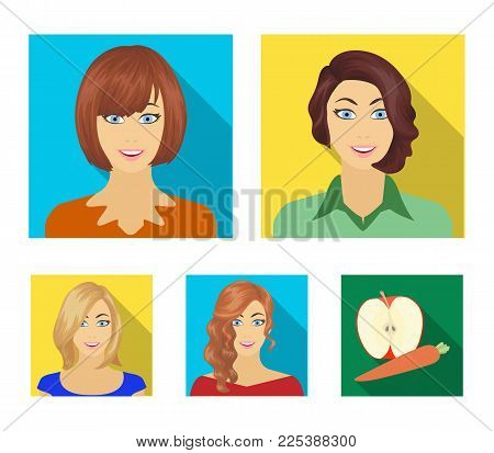 The appearance of a woman with a hairdo, the face of a girl. Face and appearance set collection icons in flat style vector symbol stock illustration .
