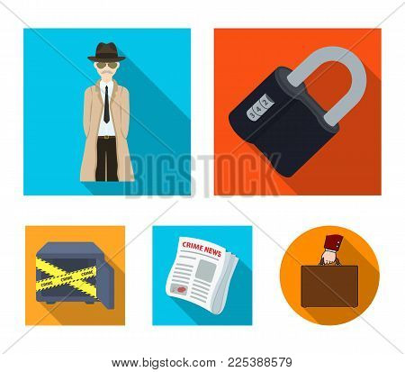 Coded lock, the appearance of the detective, a newspaper with criminal news, a hacked safe. Crime and detective set collection icons in flat style vector symbol stock illustration .