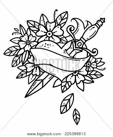Heart pierced with dagger. Retro tattoo. Heart with ribbon and flowers. Black and white tattoo. Old school retro vector illustration.