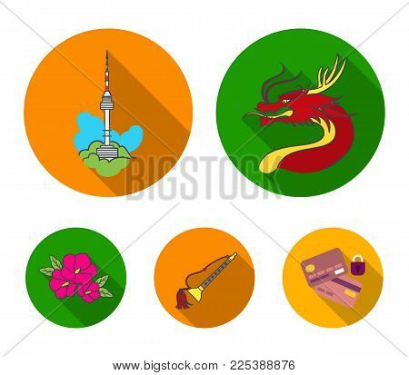 Dragon with mustache, Seoul tower, national musical instrument, hibiscus flower. South Korea set collection icons in flat style vector symbol stock illustration web.