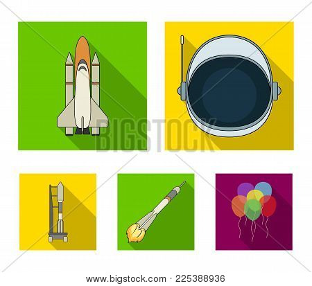 A spaceship in space, a cargo shuttle, A launch pad, an astronaut's helmet. Space technology set collection icons in flat style vector symbol stock illustration .