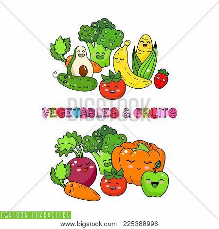 Healthy vegetable and fruits doodle. Happy food sticker, big collection. Carrot, tomato, broccoli. Pumpkin and apple