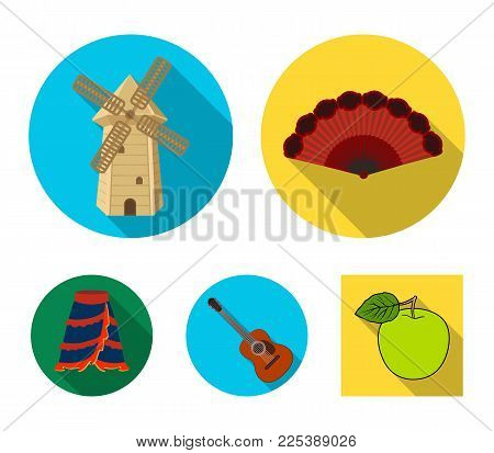 Fan Spanish, mill, guitar, skirt for national Spanish dances. Spain country set collection icons in flat style vector symbol stock illustration web.
