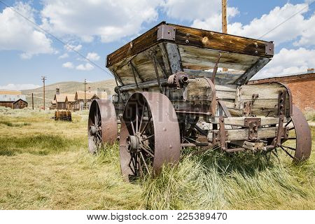 Bodie, California, Usa - August 31, 2017 : Old Cart In Bodie Ghost Town, California. Bodie Is A Hist