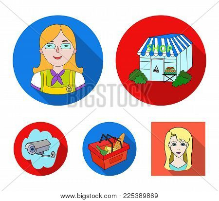 Salesman, woman, basket, plastic .Supermarket set collection icons in flat style vector symbol stock illustration .