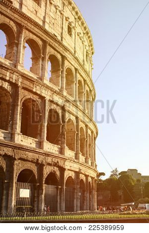 Summer. Italy. Rome. Sunset View Of The Colosseum