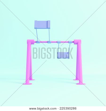 Children swing on bright blue background in pastel colors. Minimalism concept. 3d rendering
