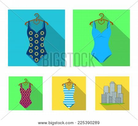 Different kinds of swimsuits. Swimsuitsset collection icons in flat style vector symbol stock illustration .