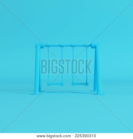 Blue children swing on bright blue background in pastel colors. Minimalism concept. 3d rendering