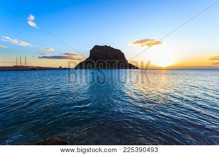 Greek Island Monemvasia At Early Morning, Greece, East Coast Of The Peloponnese, Lakonia. Travel Des