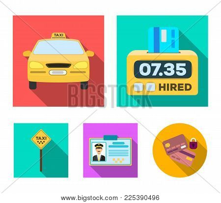 The counter of the fare in the taxi, the taxi car, the driver's badge, the parking lot of the car. Taxi set collection icons in flat style vector symbol stock illustration web.