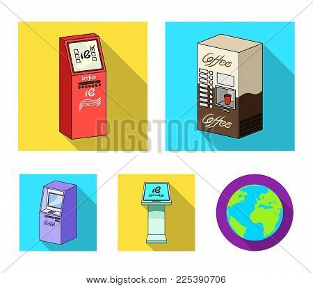Coffee machine, ATM, information terminal. Terminals set collection icons in flat style isometric vector symbol stock illustration .