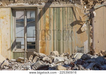 Old Building Being Demolished. Close Up On A Collapsed Wall