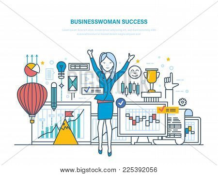 Businesswoman success. Businesswoman in office. Workflow control, project management, analysis of data, achievement of successful outcome, growth business and career. Illustration thin line design.