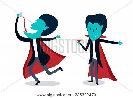 Dracula with glass of blood in vector art cartoon