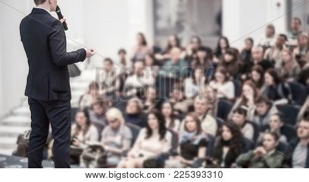speaker at business conferences.business training and education.the photo has a blank for the text.