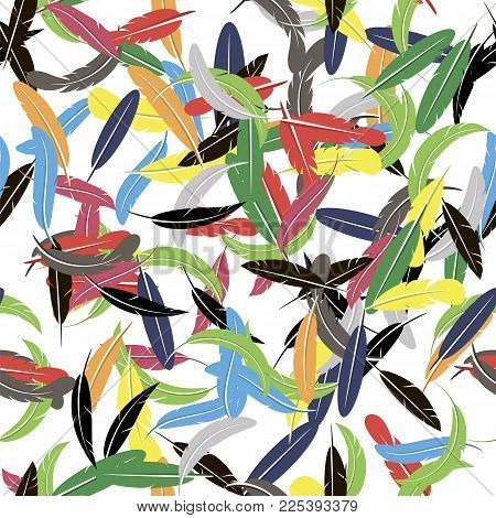 Colorful Seamless Random Feather Pattern Isolated on White Background