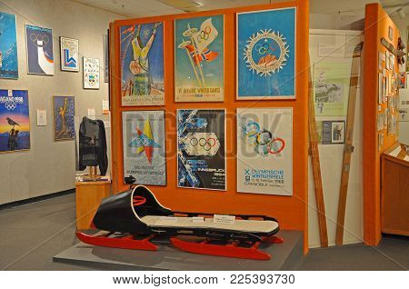 LAKE PLACID, NY, USA - MAR. 20, 2011: Collections in Lake Placid Olympic Museum, Lake Placid, New York State, USA. Lake Placid hosted 1932 and 1980 Winter Olympic Games, Adirondack Mountains, New York, USA.