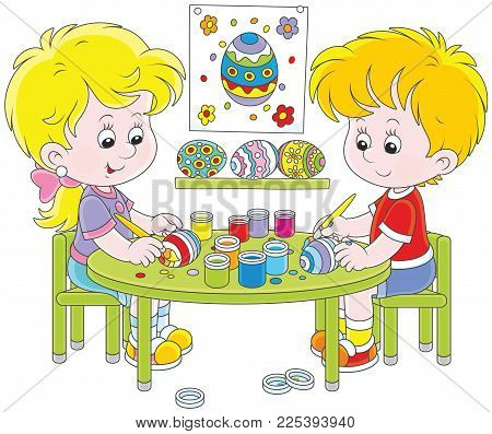 Little children painting Easter eggs to the holiday, a vector illustration in cartoon style