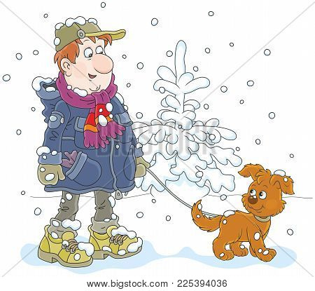 Winter Walk With A Dog. A Man Wearing Warm Clothes And Walking Over Snow With His Funny Pup, A  Vect