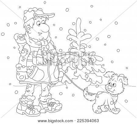 Winter Walk With A Dog. A Man Wearing Warm Clothes And Walking Over Snow With His Funny Pup, A Black