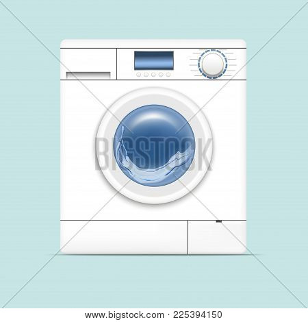 Realistic Detailed 3d White Washing Machine Appliance Laundry, Housework Equipment on a Blue Background. Vector illustration of Laundromat