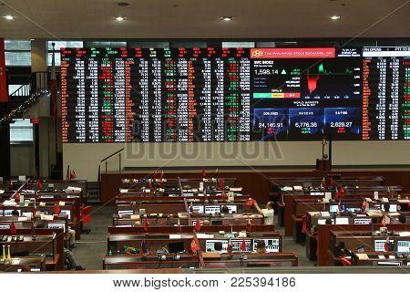 Manila, Philippines - December 7, 2017: Philippine Stock Exchange Trading Floor In Makati City, Metr