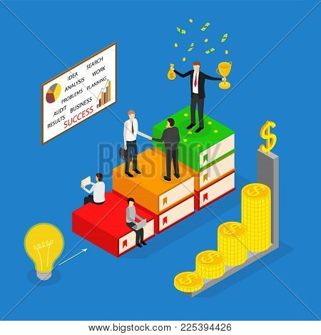 Winner Business Success Concept 3d Isometric View Include of Achievement Leadership, Win, Growth and Award. Vector illustration