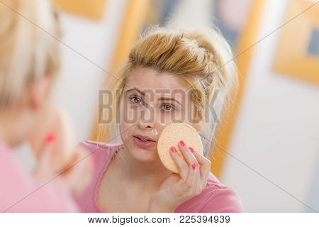 Complexion, Skincare Products Concept. Woman Having Wash Gel On Face Holding Sponge About To Clean H