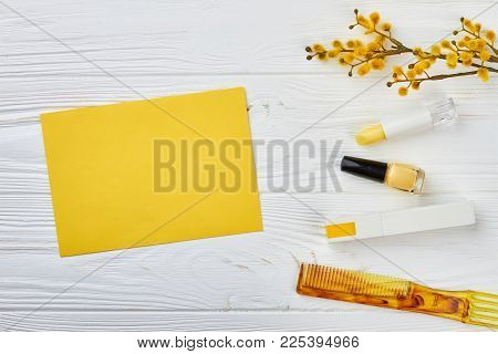 Spring Cosmetics Decorations, Wooden Background. Cosmetics And Pussy Willow Twig With Catkins, Light