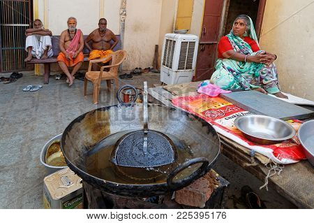 JAIPUR, INDIA, October 27, 2017 : Sadhus in an Ashram. A sadhu is a religious ascetic, mendicant or any holy person in Hinduism and Jainism who has renounced the worldly life.