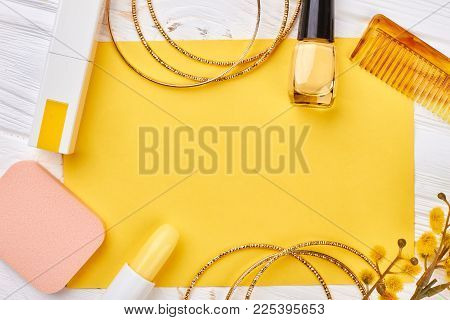 Decorative Cosmetics Art On Wooden Background. Flat Lay Elegant Beauty Products. Glamorous Jewelry A