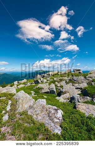 Carpathian Alps With Huge Boulders On Hillsides. Beautiful Summer Landscape In Fine Weather. Locatio