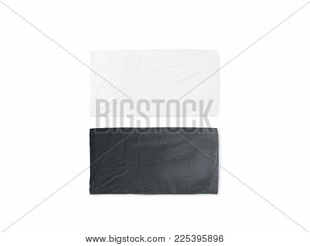 Blank Black And White Folded Soft Beach Towel Mockup. Clear Wrapped Wiper Mock Up Laying On The Floo