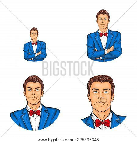 Vector Pop Art Avatar, Icon Of Handsome Man With Folded Hands Over His Chest. Showman, Businessman,
