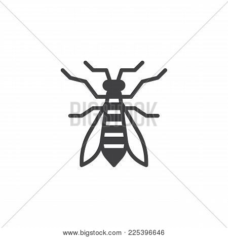 Wasp Insect Icon Vector, Filled Flat Sign, Solid Pictogram Isolated On White. Bee Symbol, Logo Illus