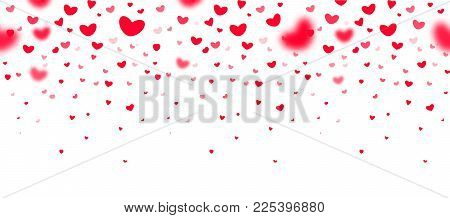 Lovely red falling hearts in focus and in defocus on white background, an excellent frame for greeting cards, valentines, wedding invitations. Vector seamless pattern love party template