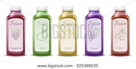 Fruit And Berry Juice Bottles Vector Illustration Of 3d Plastic Bottles Models For Fresh Juice. Isol