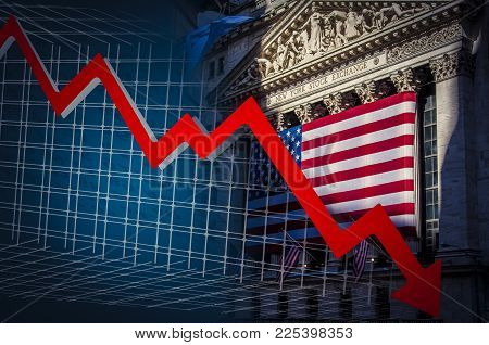 Red down arrow and NYSe on the background symbolizing the fall of the stock markets